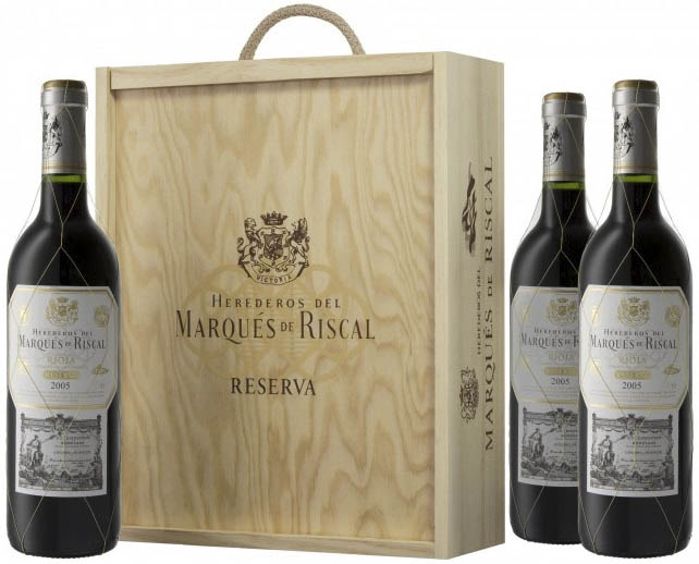 caja madera marqus de riscal reserva botellas